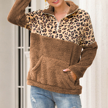 New Women Leopard Stitching Hoodies Tops Sudadera Mujer Harajuku Long-Sleeved Sweatshirt Camiseta