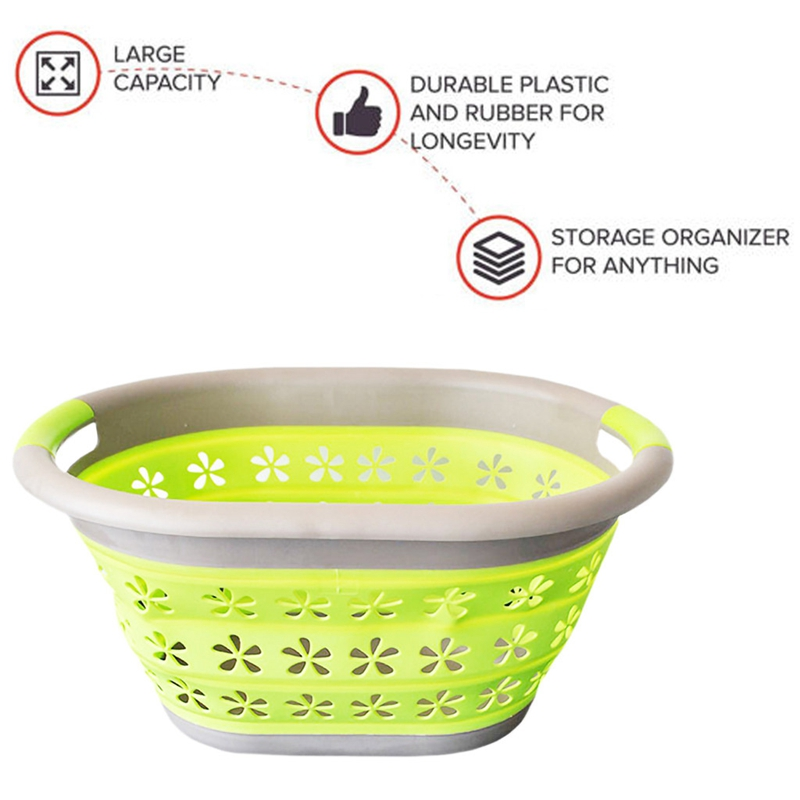 Waterproof Storage Basket Bag Toy Dirty Laundry Basket Bag Clothes Toys Storage Box Sundries Silicone Collapsible Basket