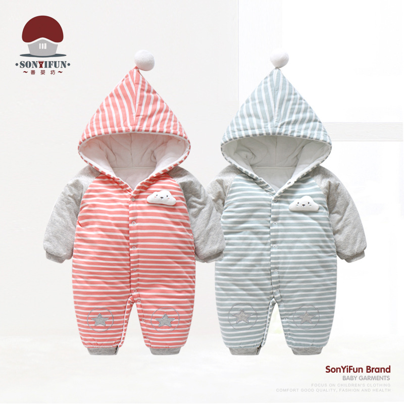 Winter New Style Infant Padded Onesie Yarn Dyed Pure Cotton Men And Women Baby Hooded Romper Stripes Out Clothes