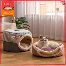 2in1 кошек зимние домашние тапочки с изображением собаки кошки Крытый милый котенок пещера коврик спальный мешок для маленьких собак кровати...