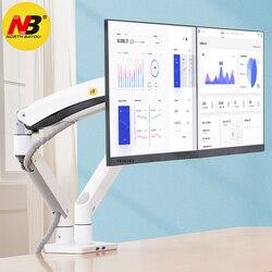 Suporte duplo de monitor nb f195a, suporte de montagem por mola à gás, de alumínio 22-32 polegadas e com monitor de movimento carga de suporte 3-12kgs cada