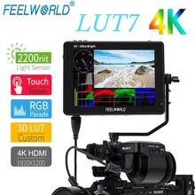 FEELWORLD LUT7 7นิ้ว2200Nits 3D LUT 4K HDMI Full HD IPS 1920X1200 DSLRกล้องด้วยคลื่น