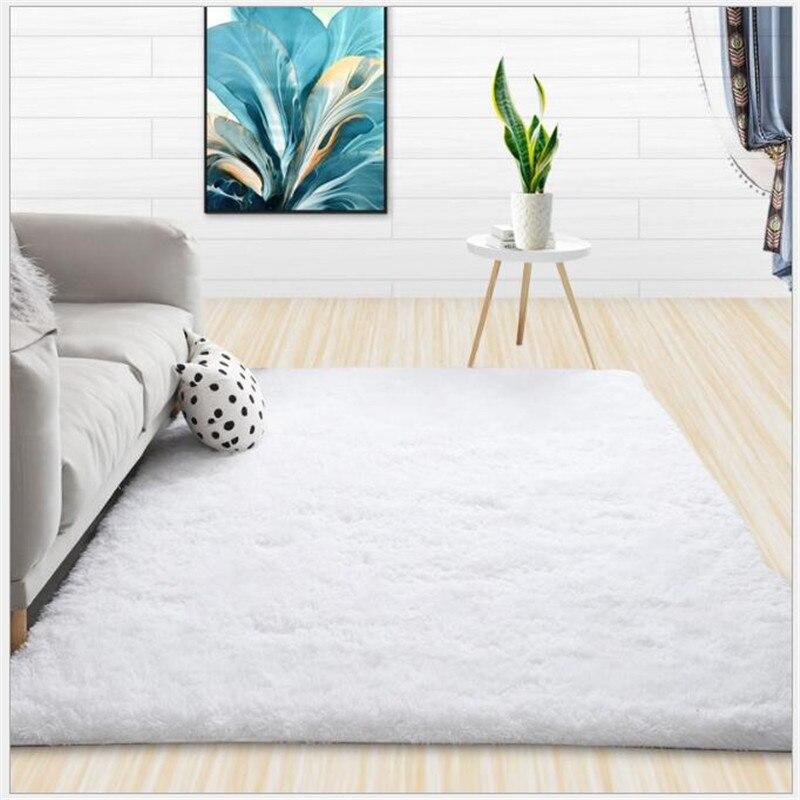 Moderne Shaggy tapis salon Table basse chambre tapis couleur unie moelleux soyeux tapis balcon tapis décoration de la maison blanc