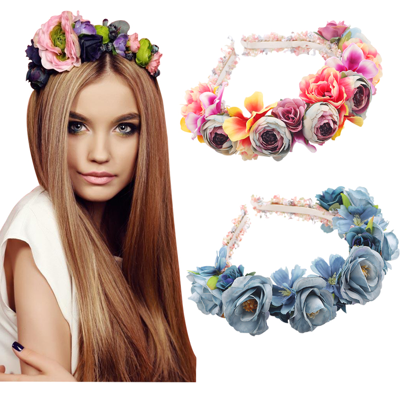 Flowers Headband for girls Hair Band Women Hairbands Children Floral Headbands Kids Hair Accessories Festival Photography