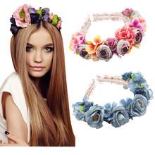 Faixa de cabelo floral para meninas, acessórios florais para cabelo, faixas de cabelo para crianças