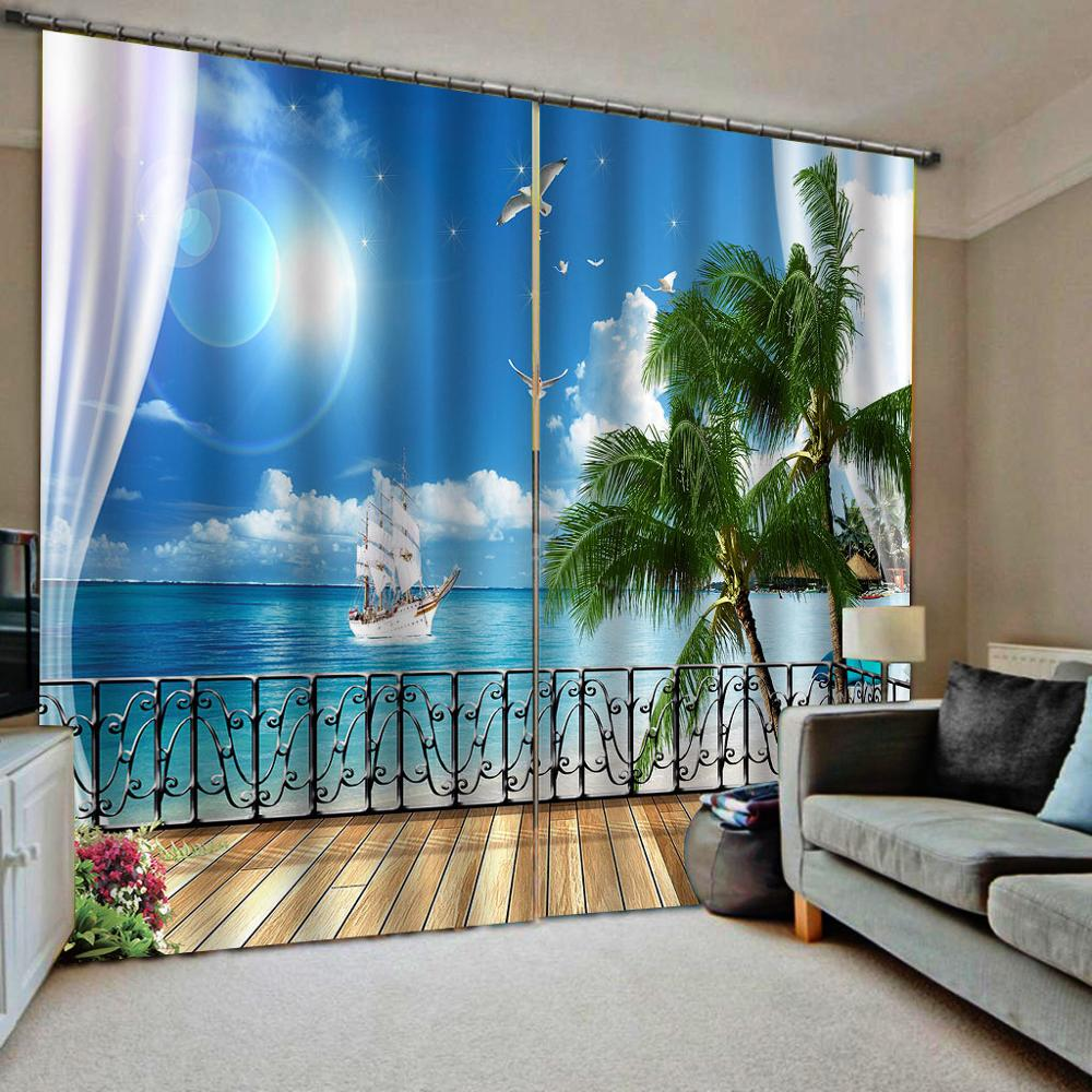 Beach curtains landscape nature scenery curtain Luxury Blackout 3D Window Curtains For Living Room