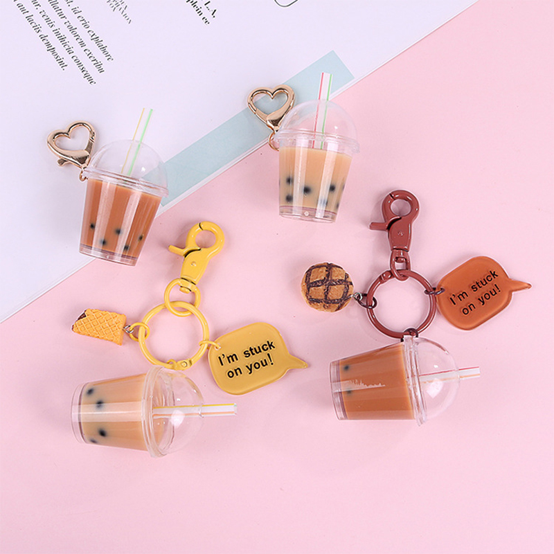 Creative Couples Women Girl Cute Keychain Pearl Milk Tea Drink Bottle Keyring Car Bag Pendant Jewelry Gift Resin Key Chain