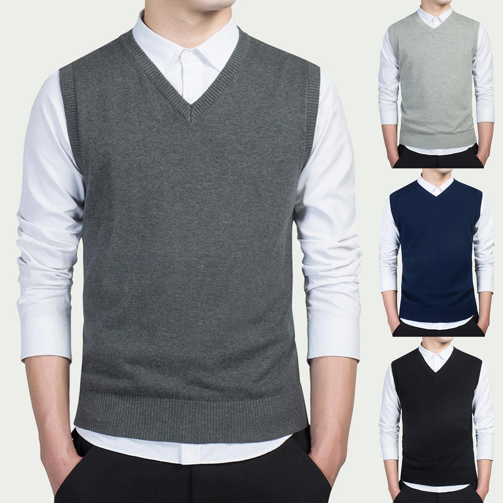 2020 New Arrival Solid Color Sweater Vest Men Cashmere Sweaters Wool Pullover Men V-Neck Sleeveless Jersey Hombre
