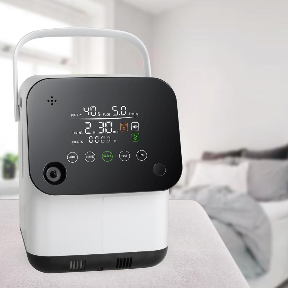 Stimme Full Touch Bildschirm Sauerstoff Konzentrator 1-7L/min Einstellbar Sauerstoff Maschine Luftbefeuchter Mit Anion Funktion 2 batterien
