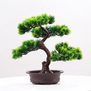 Искусственное зеленое растительное украшение в горшке для домашнего офиса сосновое дерево бонсай фестиваль имитация декоративного бонсай...