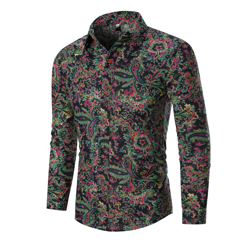 Men's Stylish Paisley Floral Long Sleeve Shirt 2019 Spring Autumn New Slim Fit Mens Dress Shirts Business Casual Men Shirt