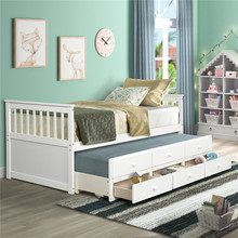 Captain's Bed Twin Size Daybed With Trundle Bed For Bedroom Modern Bed Frame With Storage Drawers Home Furniture