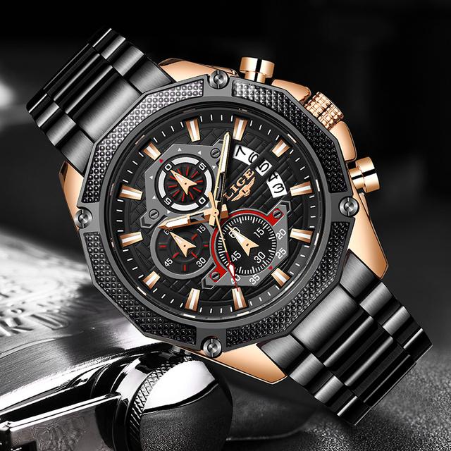 NEW LIGE Mens Watches Top Luxury Brand Stainless Steel Date Chronograph Male Quartz Watch Mens Sport Waterproof Watch 2019 Clock