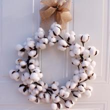 Венки настоящий хлопковый венок сельский дом Декор Рождественский винтажный венок украшение дома 14 дюймов
