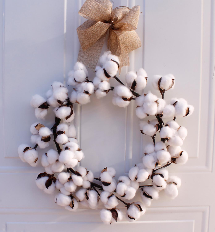 Wreaths Real Cotton Wreath Farmhouse Decor Christmas Vintage Wreath Home Decoration 14 Inch