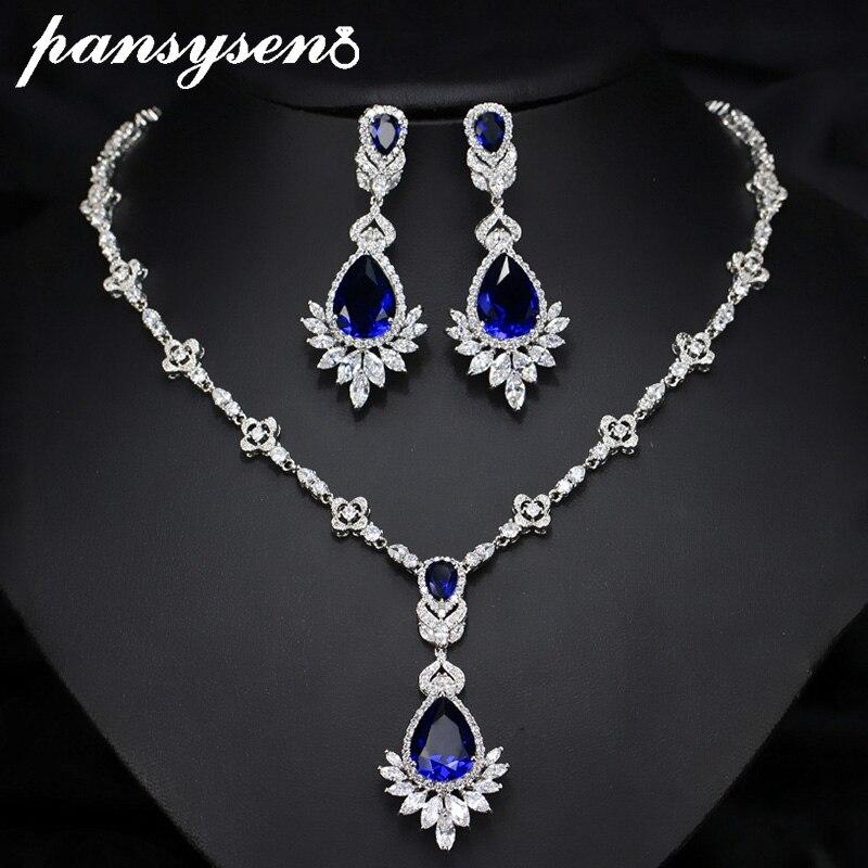 PSNSYSEN Luxury Sapphire Emerald Gemstone Jewelry Sets for Women Necklace/Earrings Fine Jewelry Sets 925 Sterling Silver Set