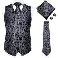 Hi-Tie Dress Vests For Men Slim Fit Mens Suit Vest 100% silk Male Waistcoat Gilet Homme Casual Sleeveless Formal Business Jacket