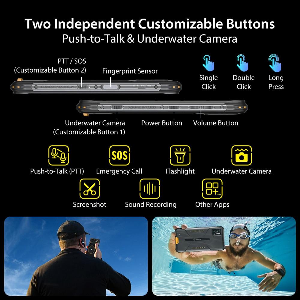 Umidigi Bison Ip Ip K Waterproof Rugged Phone Mp Matrix Quad Camera Fhd Display Gb