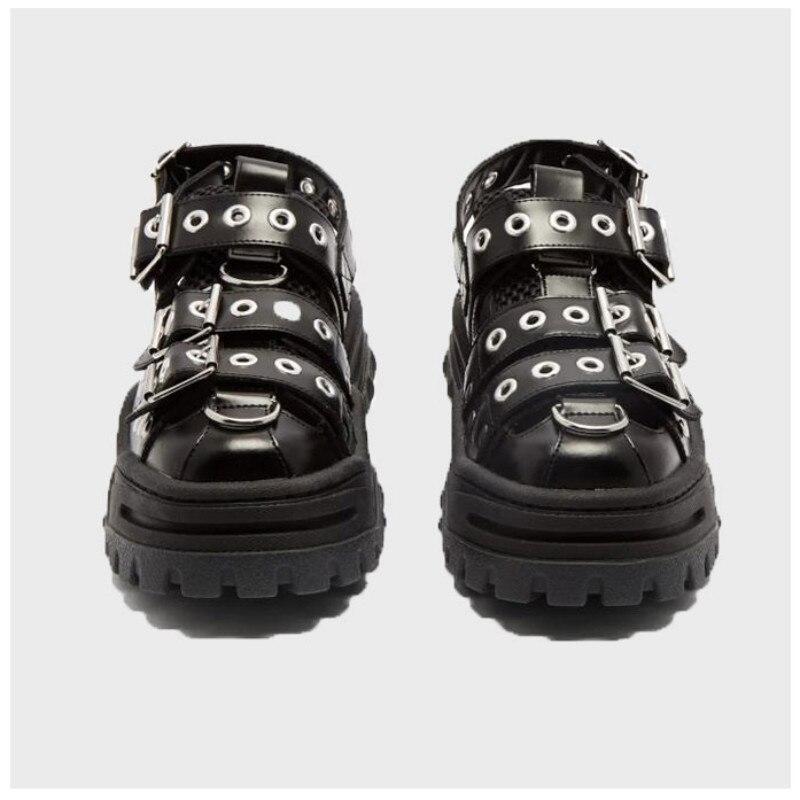 QWEDF 2019 Summer Women's Sandals Platform Women's Shoes Ins Hot Sponge Cake Old Shoes Rivets Baotou Trekking Shoes Flats G3-100