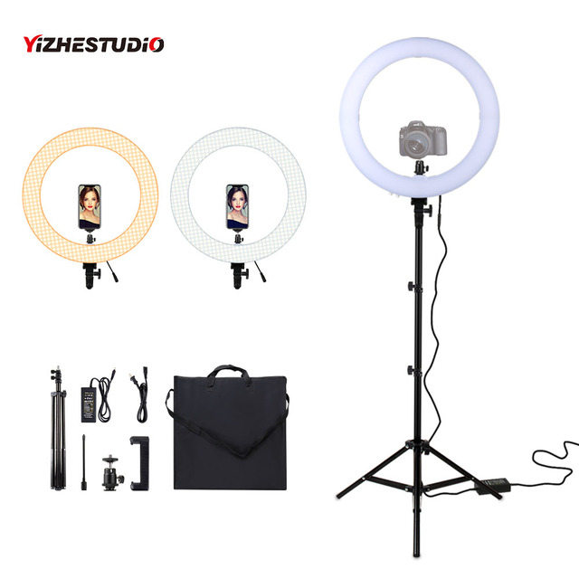 $ US $60.41 Yizhestudio LED Ring Light 18 Inch Dimmable 60w ring light with 2M tripod for YouTube Video photography Ring Lamp with carry bag
