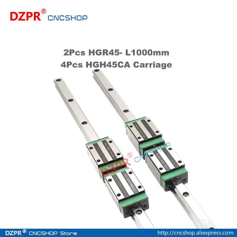 Precision Linear Guide HGR45 1000mm 39.37in Rail HGH45CA Carriage Slide for CNC engraving robot Woodwork laser textile machine