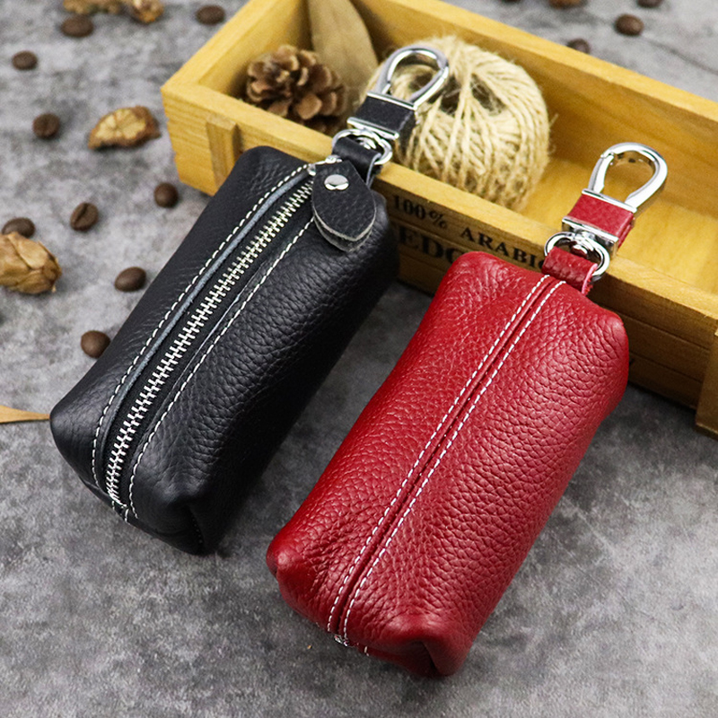 100% Genuine Leather Key Case Large Capacity Multi-function Car Key Bag Key Pouch For Household Door Unisex Keychain Housekeeper