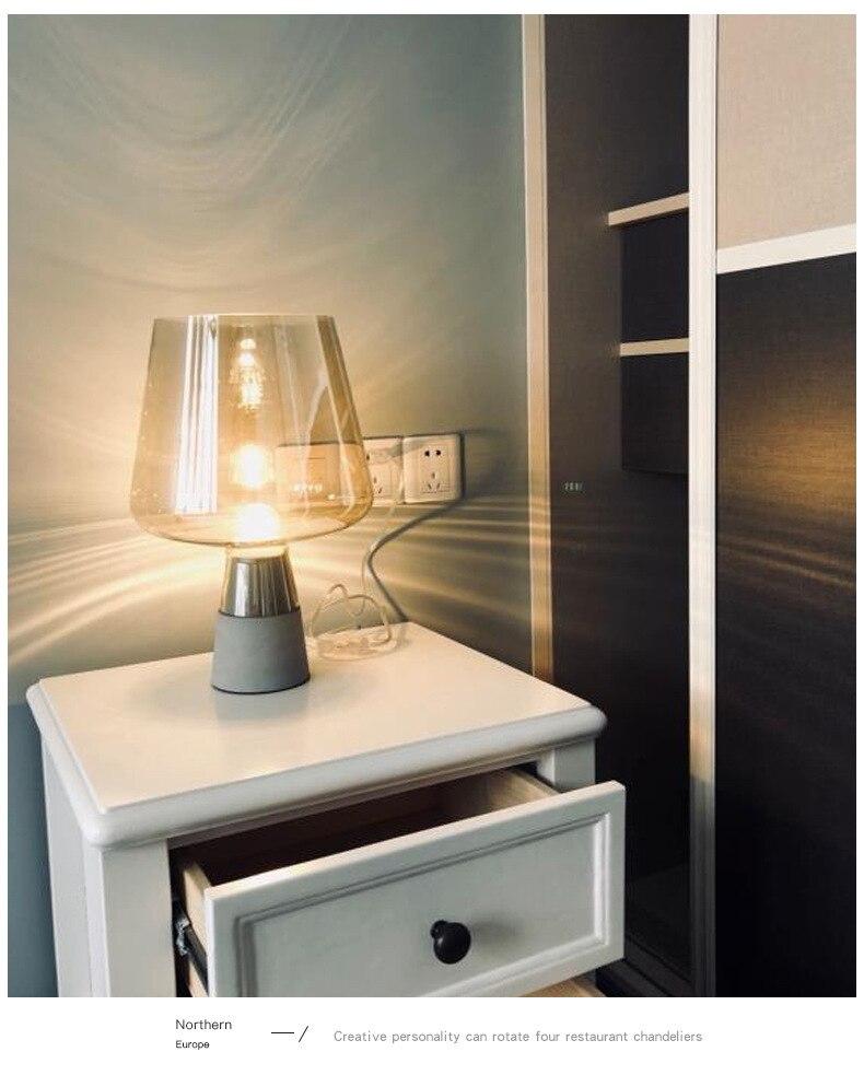 Glas Gold Tisch Lampe Kreative Büro Schreibtisch Lampe Nordic Moderne Minimalistischen Post moderne tisch lampe Hause Schlafzimmer Studie Zimmer - 3