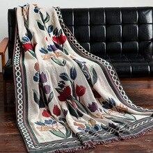 Manta de diseño de tulipán cubierta de sofá multifunción de tiro Vintage con costura estilo europeo de alta calidad manta de avión de viaje