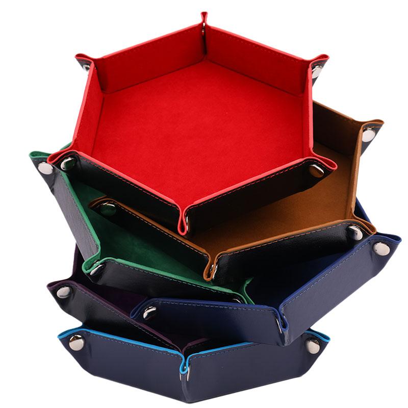 Boîte à dés pliante en cuir PU, plateau carré, pièce hexagonale, jeu de dés 6 couleurs