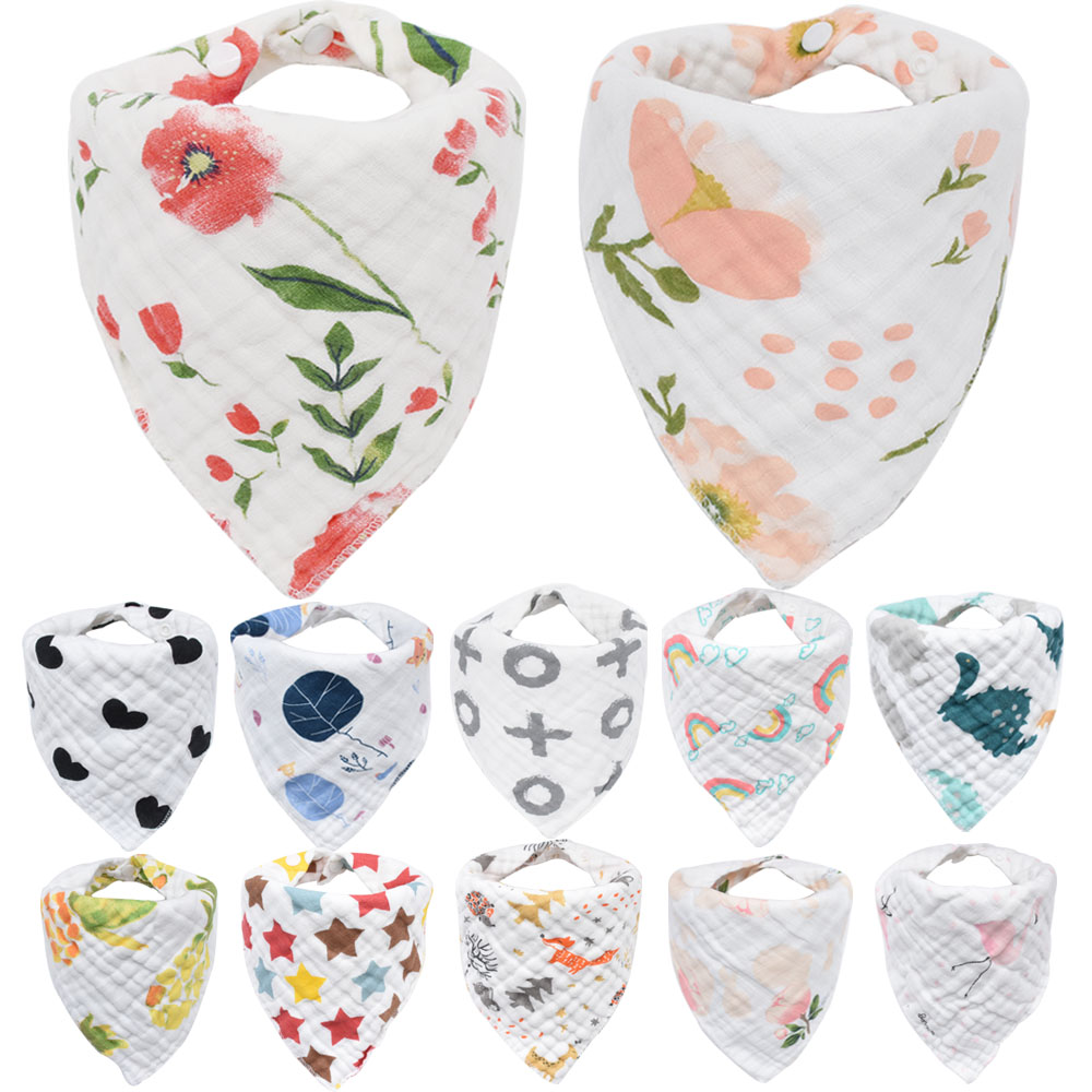 Baby Bibs Boy Girl Bandana Water Absorb Bib Burp Cloth Triangle Muslin Cotton Baby Scarf Burp Baby Accessories Infant Baby Stuff