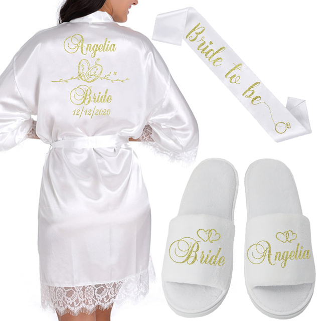 Gepersonaliseerde Datum Naam Kant Kimono Gewaad Vrouwen Bruid Bruidsmeisje Gewaden Bachelorette Bruiloft Preparewear