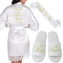 Kişiselleştirilmiş tarih adı dantel Kimono Robe kadınlar düğün gelin nedime bornozlar Bachelorette düğün Preparewear