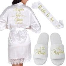Spersonalizowana nazwa daty koronkowe Kimono szaty damskie ślubne szlafroki dla druhen i panny młodej panieński ślub przygotowawczy
