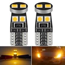 Lâmpada de led para carros 2 peças, led t10 w5w 3030 194 168 lâmpadas de led para backup reverso luz 12v branco vermelho laranja