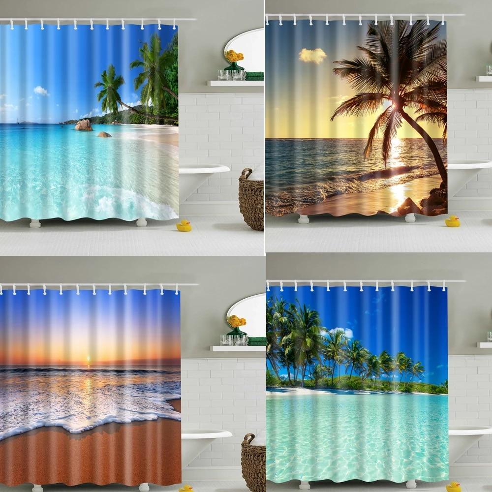 blue sky beach shower curtain modern scenery print blue bathroom 3d blackout shower curtain large 180x200cm for bathroom cortina