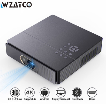 WZATCO S5 Portable MINI DLP 3D Projector 4K 5G WIFI Smart Android for Home Theater Beamer Full HD 1080P Video lAsEr Proyector 1