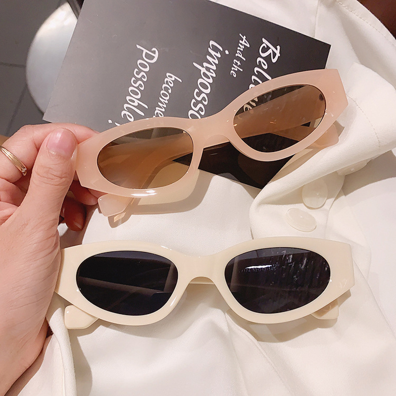 SO&EI Ins Popular Fashion Small Cat Eye Sunglasses Woman Vintage Oval Eyewear Men Champagne Tea Sun Glasses Shades UV400