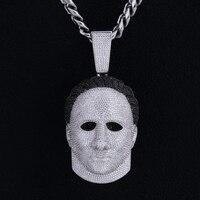 DNSCHIC Hip Hop Pendant Horror Scary Ghost Halloween Pendant for Men Hip Hop Jewelry Gift Michael Myers Mask Halloween Pendant