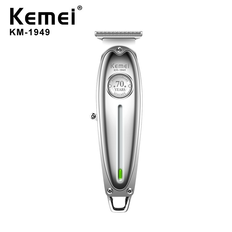 Kemei 1949 Professional Hair Clipper All Metal Men Electric Cordless Hair Trimmer 0mm Baldheaded T Blade Finish Haircut Machine