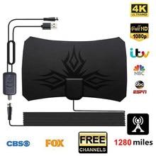 4K dijital HDTV anten kapalı Amplified anten 1280 mil menzilli yaşam için yerel kanal yayın