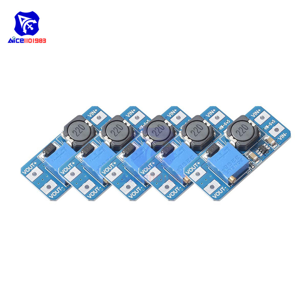 Diymore 5PCS/Lot MT3608 DC -DC DC 2 -24V To 5V-28V 2A Step Up Boost Converter Power Supply Module With Adjustable Trimpot