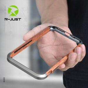 Image 1 - R JUST Cao Cấp Nhôm Kim Loại Gỗ Ốp Lưng cho iPhone SE 2020 11 Pro Max X 7 8 XR XS MAX slim Gỗ Tự Nhiên Thương Hiệu Ốp Điện Thoại
