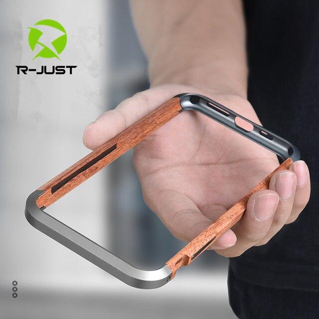 R JUST Cao Cấp Nhôm Kim Loại Gỗ Ốp Lưng cho iPhone SE 2020 11 Pro Max X 7 8 XR XS MAX slim Gỗ Tự Nhiên Thương Hiệu Ốp Điện Thoại