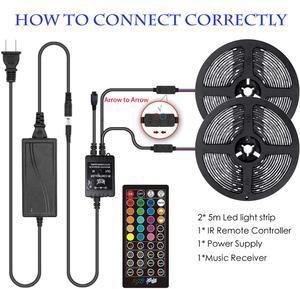 Image 5 - Bande lumineuse RGB 5050 + prise adaptateur, ruban déclairage Flexible 10m, 30 diodes, 12V, 40 touches, contrôleur musical