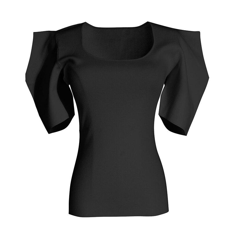 [EAM] Women Black White Knitting High Elasitc T-shirt New Round Neck Half Puff Sleeve  Fashion Tide  Spring Summer 2020 1W568 4