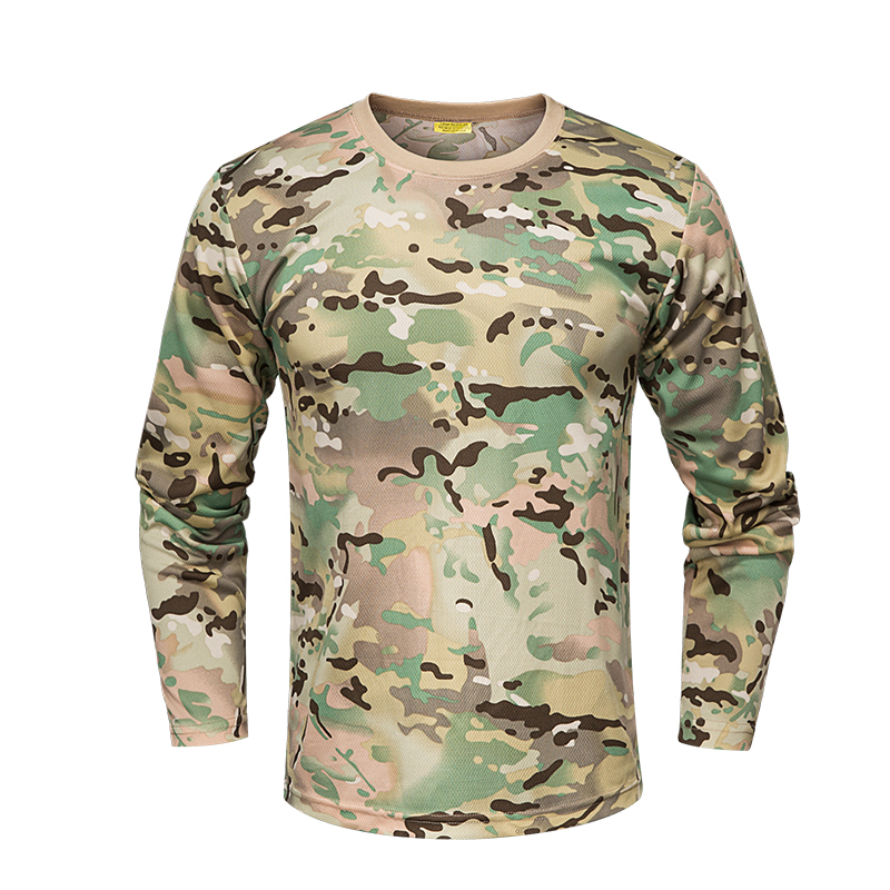 Camo Tactical Shirt Military Long Sleeve Quick Dry T-Shirt Men's Camouflage Army Combat T Shirt Outdoor Hunting Hiking Shirts