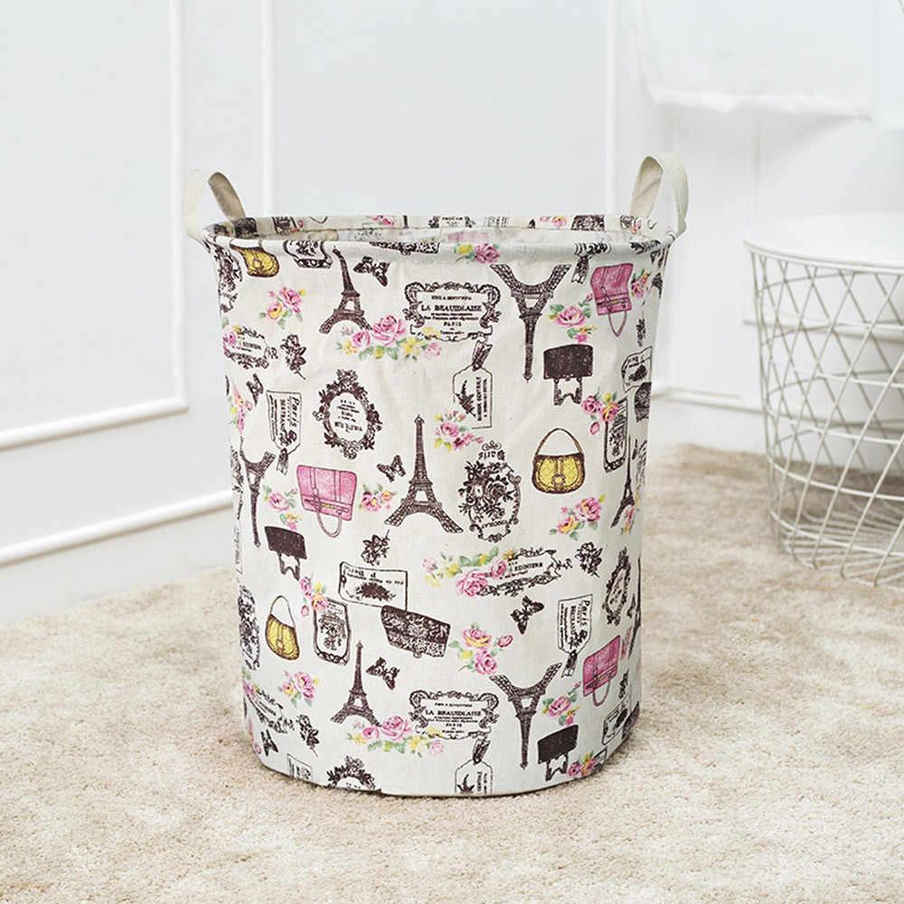 Baumwolle Bettwäsche Wasserdichte PE Beschichtung Lagerung Korb Kleinigkeiten kleidung lagerung box panier plante kinder wäsche korb für spielzeug #5