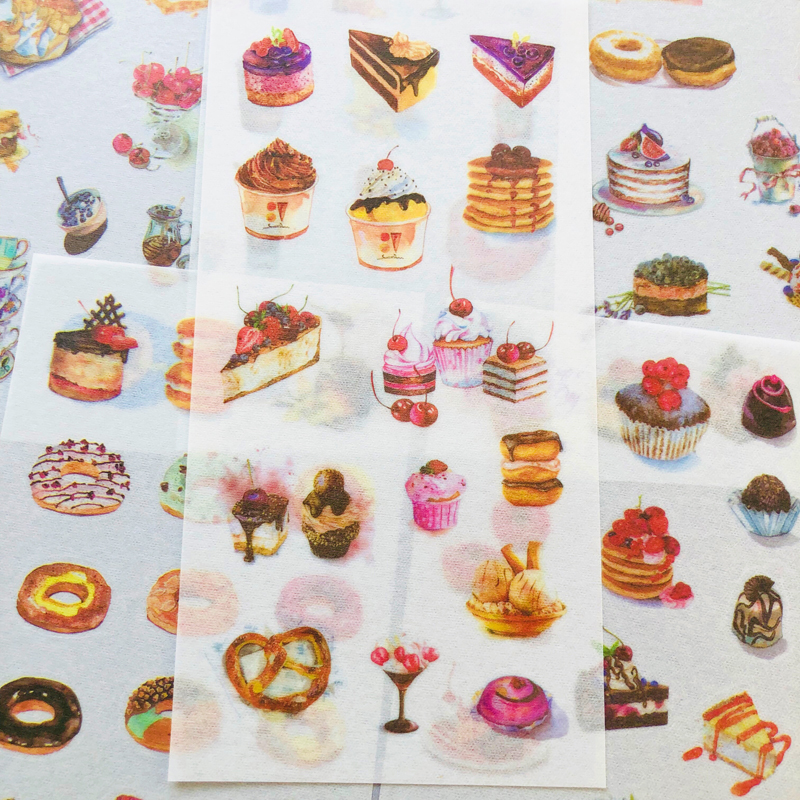 6 Sheets Cake Dessert House Decorative Stickers Album Diary Stick Label