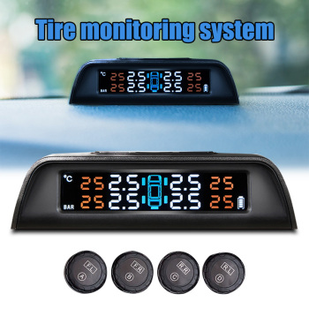Car Tire Pressure Monitoring System Solar Power Wireless Smart TPMS Real-time Displays Car Styling