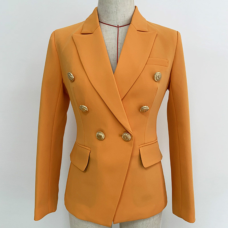 High Quality Blazer Ladies Suit Jacket  Classic Double-breasted Buckle Slim-Fit Small Suit Jacket Naturals Yellow Blazer Mujer